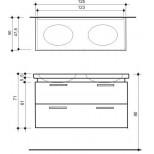 Detremmerie Pascale onderbouwkast soft oval met 2 waskommen 120cm dark grey 095125SSM3