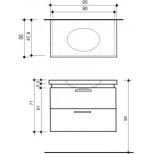 Detremmerie Pascale onderbouwkast soft oval met waskom 90cm dark grey 095090SSM3