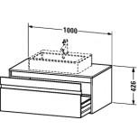 Duravit Ketho wastafelonderbouw met 1 lade 100x42.6x55cm voor 1 opbouw wastafel basalt KT669504343