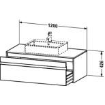 Duravit Ketho wastafelonderbouw met 1 lade 120x42.6x55cm voor 1 opbouw wastafel basalt KT669604343