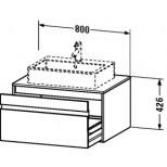 Duravit Ketho wastafelonderbouw met 1 lade 80x42.6x55cm voor 1 opbouw wastafel basalt KT669404343