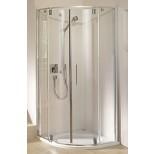 Duscholux Carat douchecabine kwartrond 100x190cm met 2 deuren edelmat-helder glas 294624190551070
