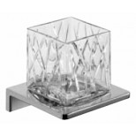 Emco Asio glashouder wandmodel met kristalglas helder decor 1 chroom 132020401