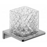 Emco Asio glashouder wandmodel met kristalglas helder decor 2 chroom 132020402