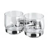 Geesa Standard glashouder dubbel met helder glas chroom 7163