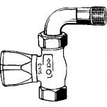 "Heimeier Mikrotherm radiatorafsluiter 1/2"" recht met bocht Kvs = 1,61 m3/h 011402500"