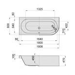 Hoesch HappyD kunststof bad acryl links 180x80x45cm inbouw z. poten wit 6484010