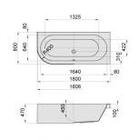 Hoesch HappyD kunststof bad acryl rechts 180x80x45cm inbouw z. poten wit 6486010