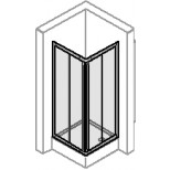 Hüppe Alpha hoekinstap met schuifdeuren 2-delig 100x190cm zilvermat/helder AL1115087321
