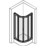 Hüppe Alpha douchecabine kwartrond met schuifdeuren 80x190cm radius 55cm zilvermat/helder AL3500087321