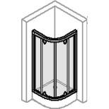 Hüppe Alpha douchecabine kwartrond met zwaaideuren 80x190cm met vaste segmenten radius 55cm zilvermat/helder AL4500087321