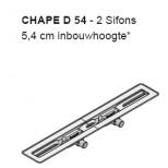 I-Drain Chape 54 deurdrain 110cm 2x uitloop 40 zonder rooster rvs ID4ZSD11002X1