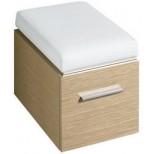 Keramag Silk hocker met zitkussen en wieltjes 38x56x45/49cm eiken 816070000