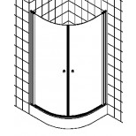 Kermi Atea douchecabine kwartrond met pendeldeuren 90x185cm radius 55cm glanszilver/helder ATV5509018VAK