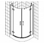 Kermi Gia XP douchecabine kwartrond 2 draaideuren met vaste segmenten 100x200cm glanszilver/helder GXE5510120VAK
