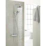 Kludi A-QA douchekraan thermostatisch met Dual Shower System (s) HOH=15cm met handdouche 3S en hoofddouche chroom 660950500