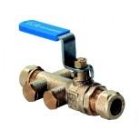 Raminex TBE-EA terugstroombeveiliging met kogelafsluiter en aftapper 15mm knel 280300