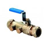 Raminex TBE-EA terugstroombeveiliging met kogelafsluiter en aftapper 22mm knel 280301