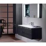 Burgbad Bel hoge kast met 1 deur met binnenspiegel 160x40x35cm vergrootspiegel en verlichting links zwart F0580HSBN040L
