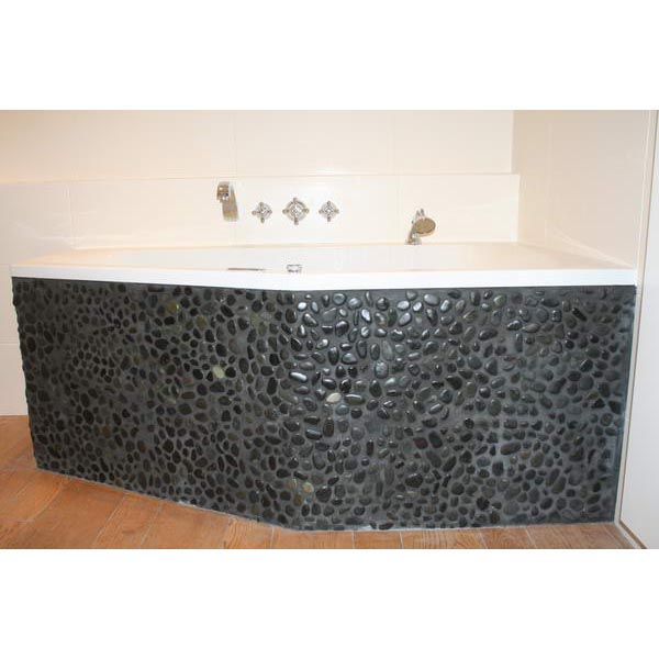 Badkamer Alkmaar hout tegels met kiezel gecombineerd