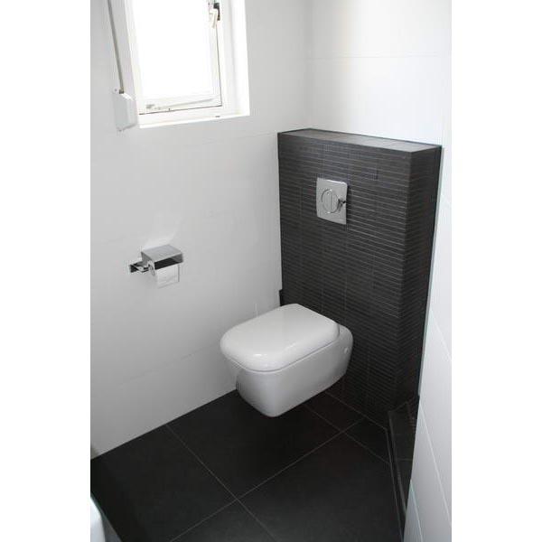 Badkamer bergen op zoom dubbele opzetwastafel zwart wit - Wc zwart wit ...