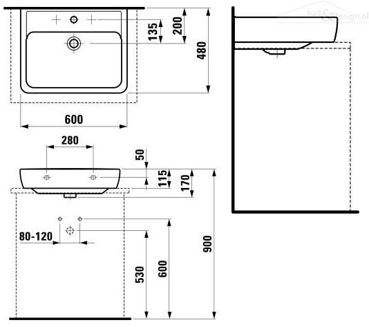 Laufen Pro A opzet wasbak zonder kraangat 60×48 wit 8179520000000 # Wasbak Laufen_182708