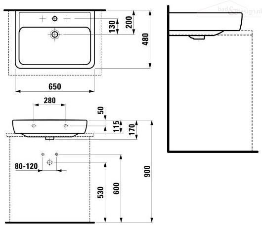 Quick Step Voor Badkamer ~ Laufen Pro A opzet wasbak zonder kraangat 65×48 pergamon 8179530000000