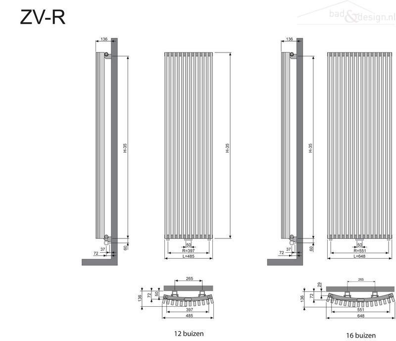 Thermic Zana ZVR decorradiator H1800xL648mm 1835W M301 antraciet jan.