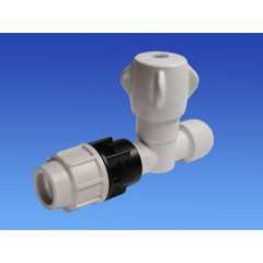 Wavin Hep2O stopkraan 25mm met klemkoppeling 22mm wit 4445525220