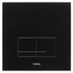 Wisa Delos bedieningsplaat glas mechanisch 16x16cm met dualflush voor XS WC-element zwart 8050420238